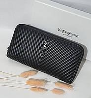 Шкіряний жіночий клатч-гаманець / Жіночий клатч з натуральної шкіри чорний