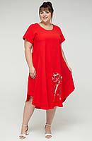 Платье женское большого размера летнее батальное креп, красное