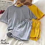 Костюм женский спортивный летний с шортами+футболка, ткань-двухнить, 4 цвета, Р-р.42-44,44-46Код 429Ц, фото 3