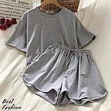 Костюм женский спортивный летний с шортами+футболка, ткань-двухнить, 4 цвета, Р-р.42-44,44-46Код 429Ц, фото 6