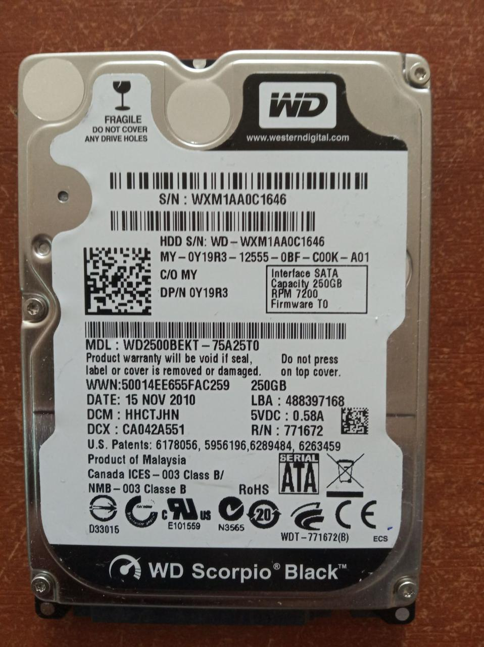 Жесткий диск HDD Western Digital 250 ГБ 2.5 для ноутбука