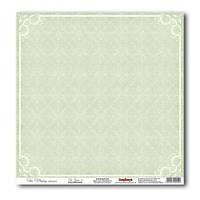 Лист скрап бумаги  30,5х30,5 см 200 гр/м Свадебный - нежно-зеленый