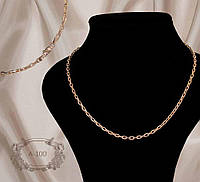 Серебряная цепь позолоченная якорное плетение на 55 см  А-100, фото 1