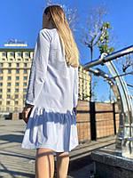 Сукня жіноча міні з волнаном внизу вільного крою повсякденне базове бавовняне блакитне двунітка M