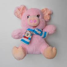 Мягкая игрушка Свинка 24 см розовая с шарфиком. pro