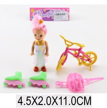 Кукла маленькая с велосипедом, ролики. pro