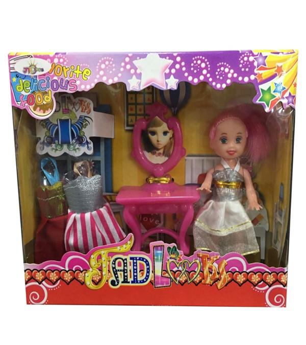 Кукла маленькая трюмо, 2 платья. pro