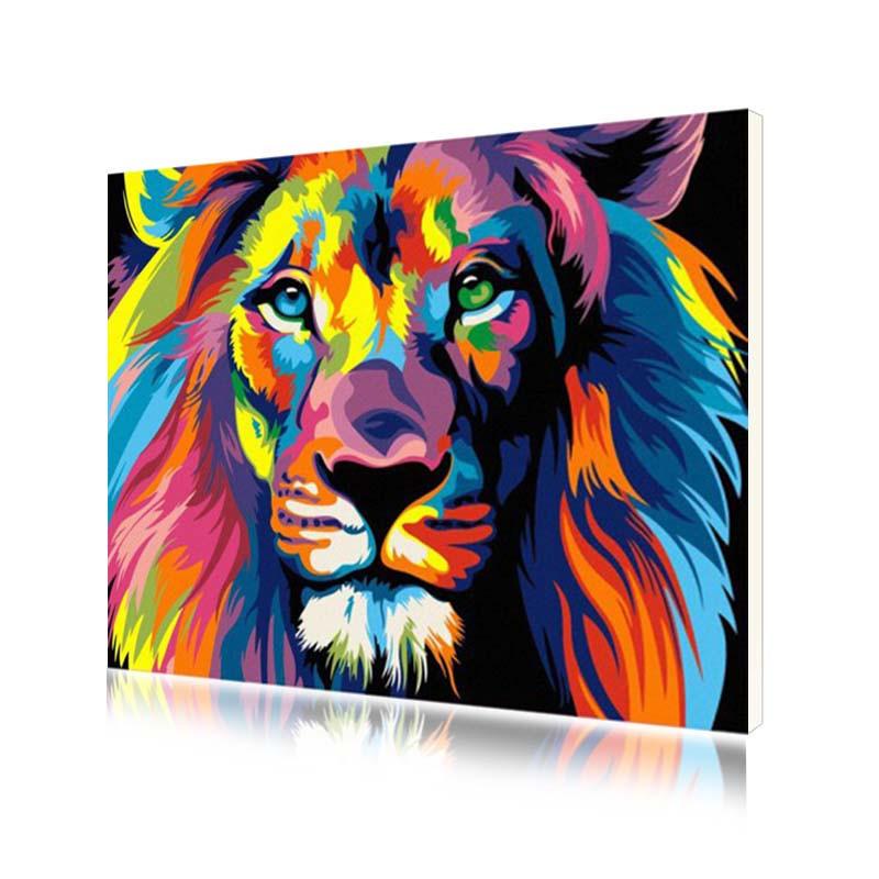 """Картина за номерами Lesko E-564 """"Райдужний Лев"""" набір для творчості на полотні 40-50см малювання"""