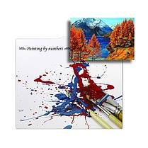 Картина по номерам Lesko Y-5568 «Осень на горном озере» набор для творчества на холсте 40-50см рисование, фото 3