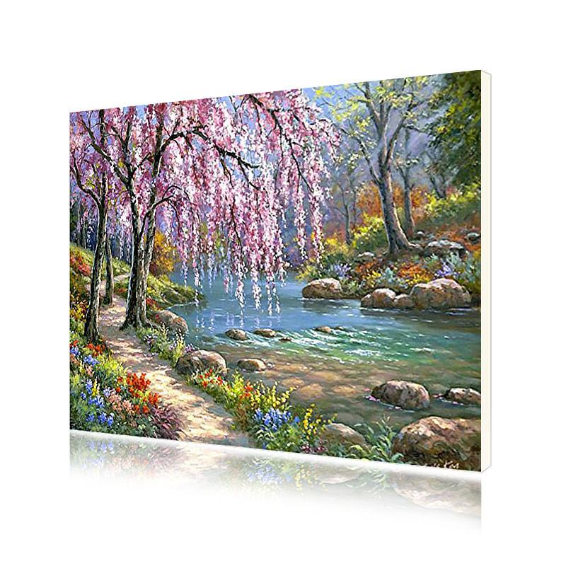 """Картина по номерам Lesko E-151 """"Ива у ручья"""" набор для творчества на холсте 40-50см рисование"""