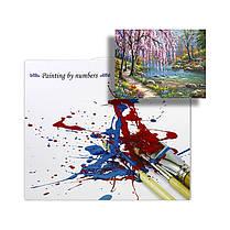 """Картина по номерам Lesko E-151 """"Ива у ручья"""" набор для творчества на холсте 40-50см рисование, фото 3"""