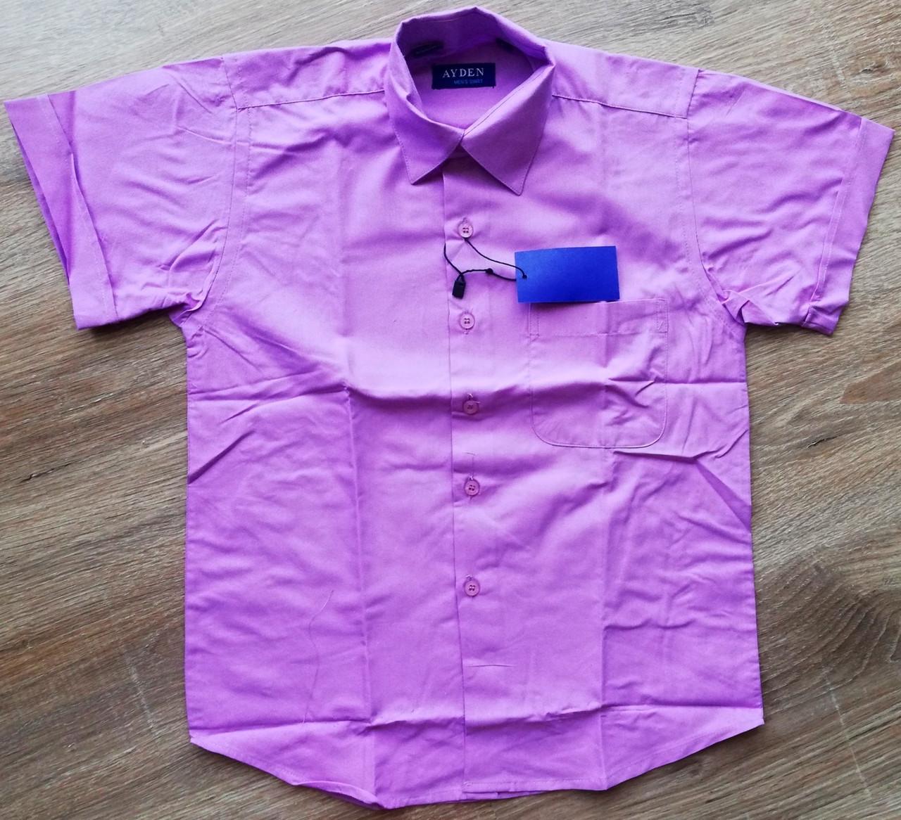 Дитяча сорочка з коротким рукавом Ніжно-фіолетова від 29 до 36 см