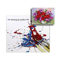 "Картина по номерам Lesko PH-9407 ""Маки и колокольчики"" набор для творчества на холсте 40-50см рисование, фото 3"