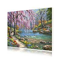 """Картина по номерам Lesko E-151 """"Ива у ручья"""" 40-50см набор для творчества живопись"""