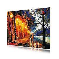 """Картина по номерам Lesko E-114 """"Двое в осеннем парке"""" 40-50см набор для творчества живопись"""