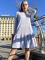 Сукня жіноча міні з волнаном внизу вільного крою повсякденне базове бавовняне двунітка блакитне L