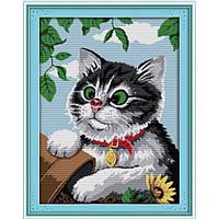 """Вышивка крестиком """"Игривый котик"""" 47х61см D445 ,"""