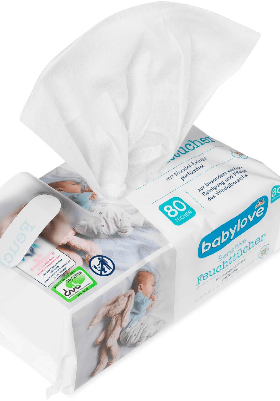 Влажные гигиенические салфетки Babylove Sensitive Feuchttücher, 80 шт