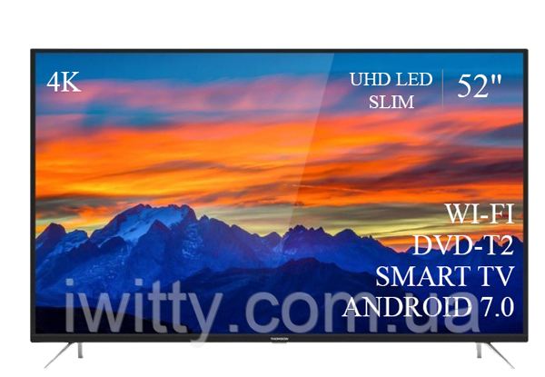 "Телевизор Томсон Thomson 52"" Smart-TV/DVB-T2/USB (1920×1080) Android 7.0 АДАПТИВНЫЙ 4К/UHD"