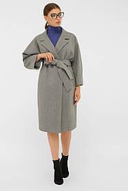 Пальто осеннее двубортное серое шерсть  42, 44, 46, 48