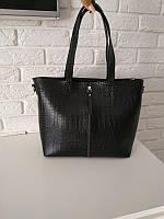 """Женская повседневная сумка для документов """"Криста Black Crocodile"""", фото 1"""