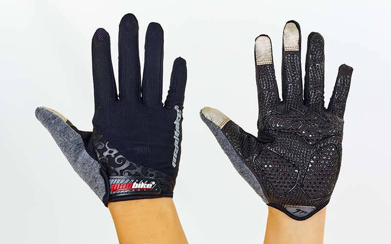 Велоперчатки с пальцами MADBIKE SK-13  (L, Черный)