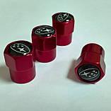 Захисні металеві ковпачки Primo на ніпель, золотник автомобільних коліс з логотипом Subaru - Red, фото 2
