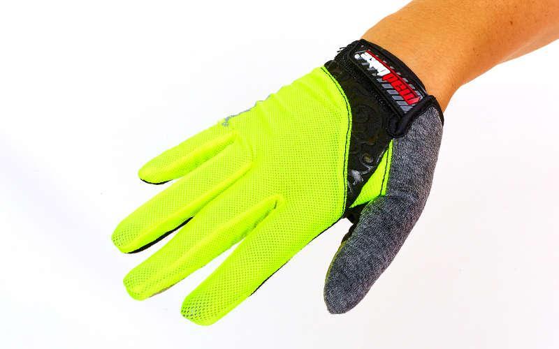 Велоперчатки с пальцами MADBIKE SK-13  (M, Салатовый)