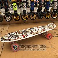 Скейтборд пенни борд детский для девочек мальчиков начинающих пластиковый со светящимися колесами penny board