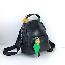 Рюкзак с цветными вставками / натуральная кожа черный