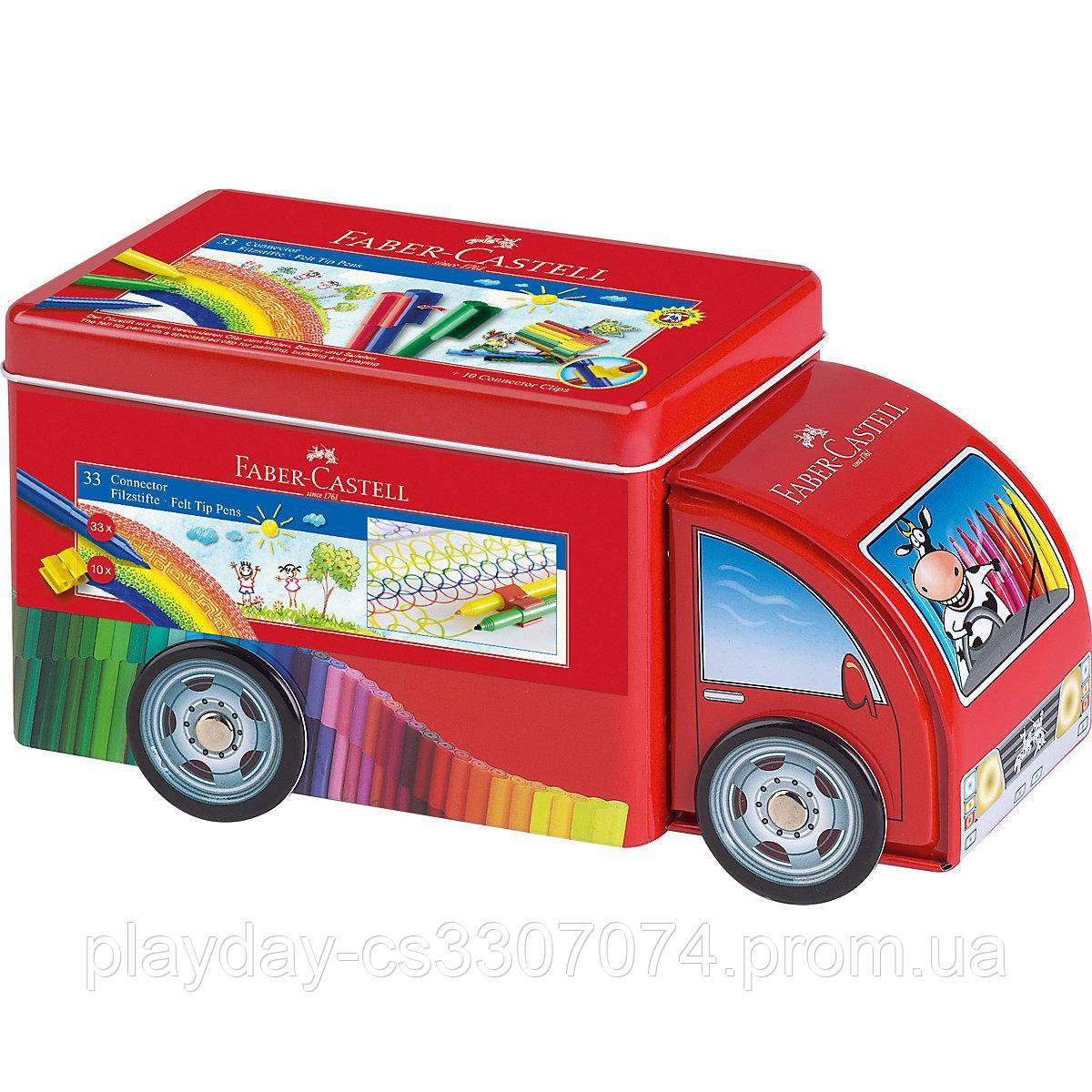 Набор фломастеров в жестяной контейнере-машинке 33 цвет от Faber-CastelI