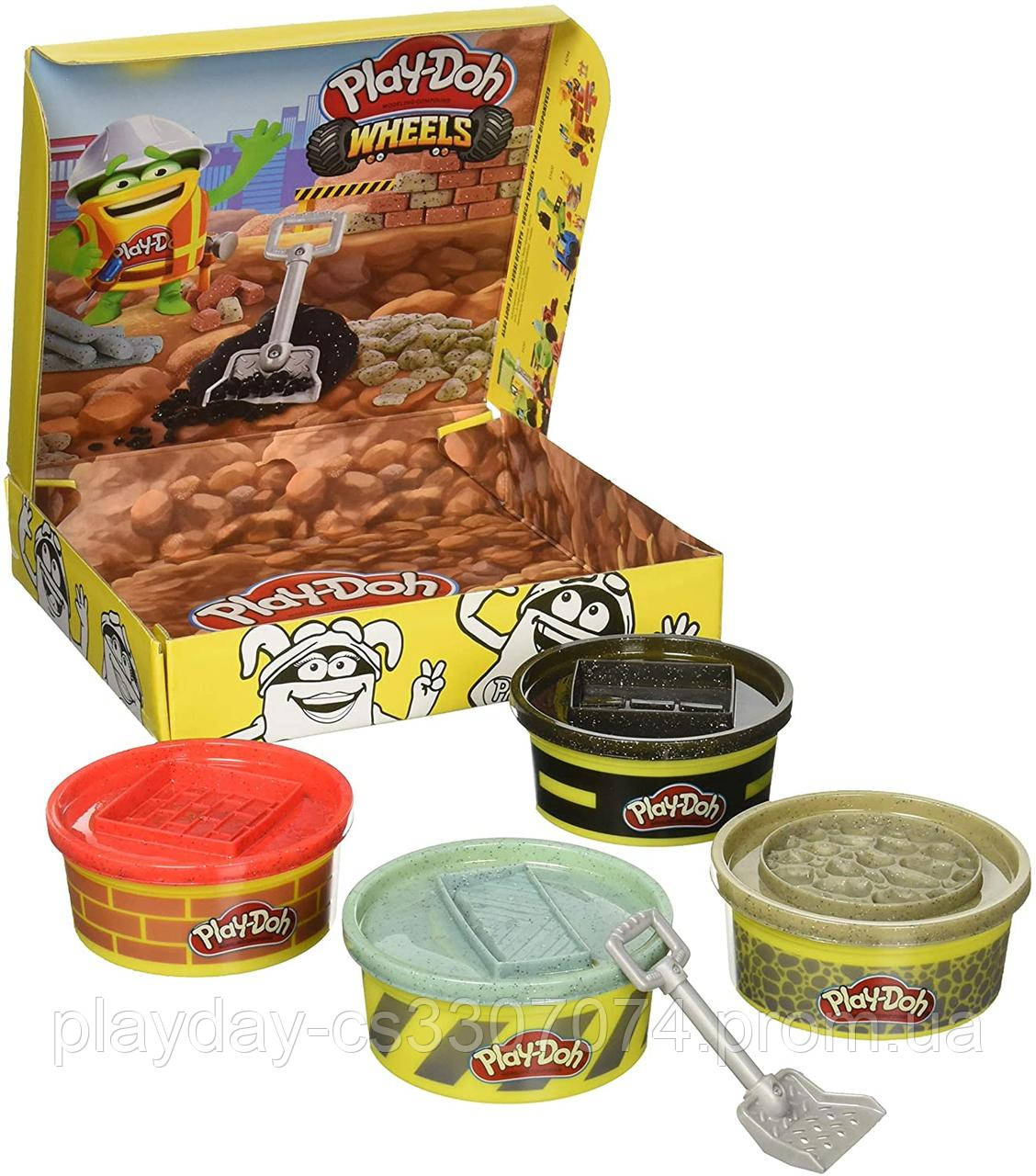 Набор пластилина Play-Doh Wheels 4 шт для строительства