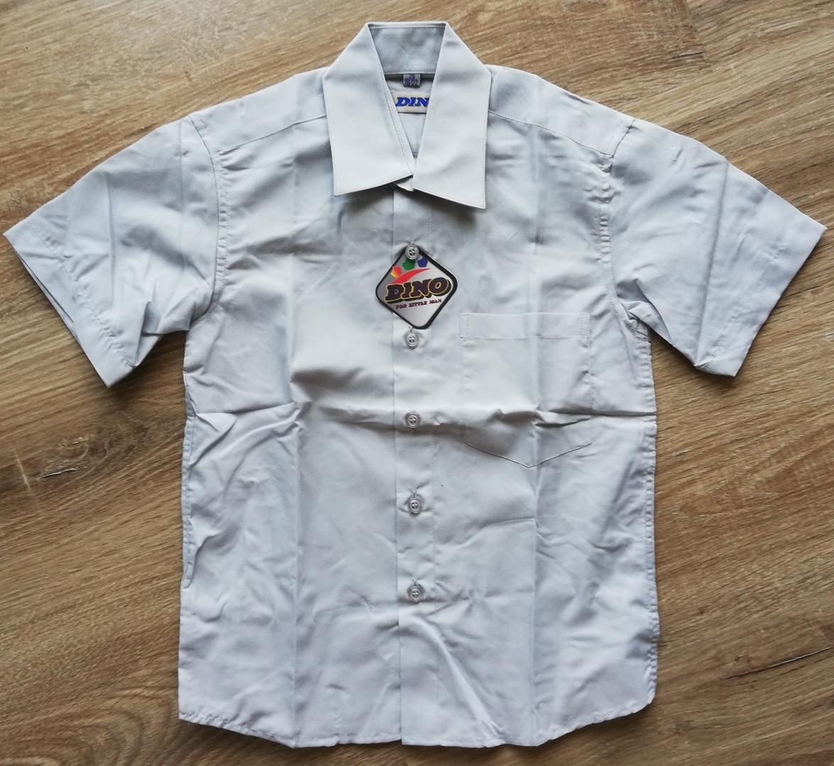 Детская рубашка с коротким рукавом Светло-серая от 122 до 164 см