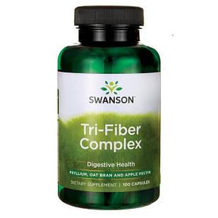 Swanson Premium Tri-Fiber Complex psyllium (шелуха подорожника), овсяные отруби, ябл. пектин 100 капсул