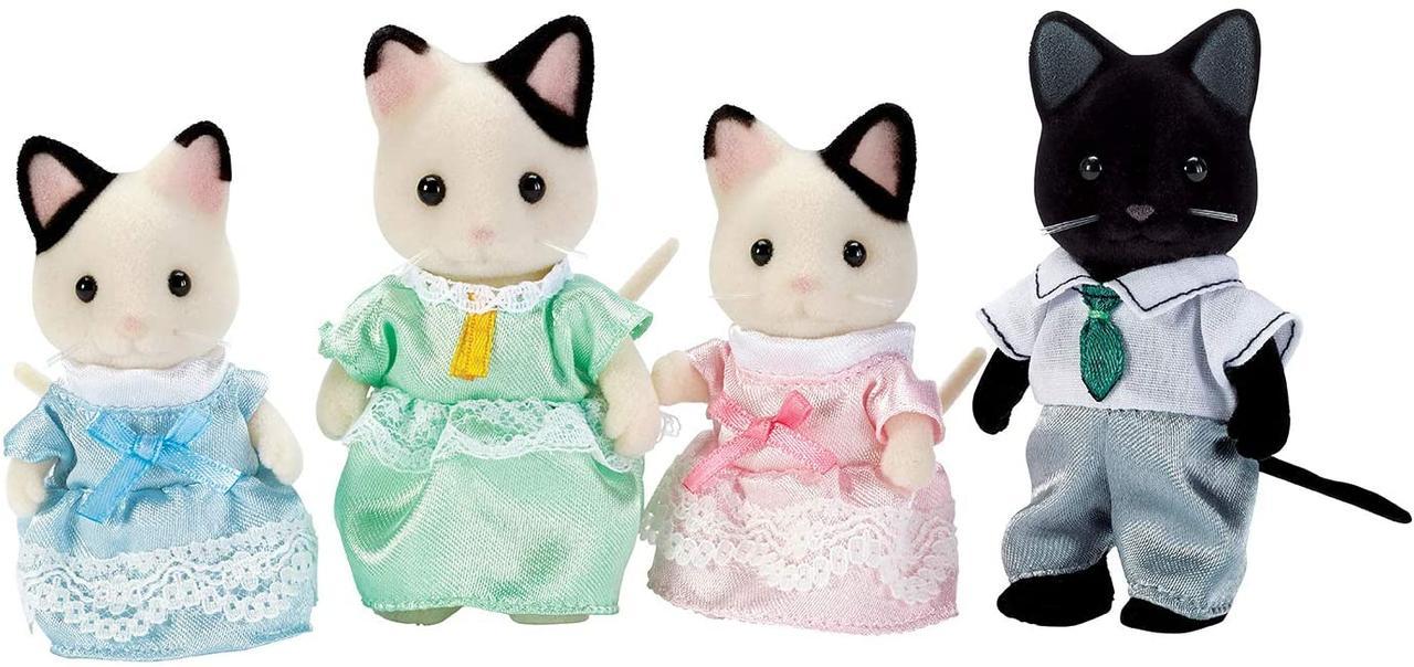 Sylvanian Families (Calico Critters) семья Котов в смокинге Tuxedo Cat Family