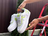 Женские кроссовки Nike Air Force 1 Shadow, білі із салатовим, белые, жіночі кросівки найк 1 шадов (9670)