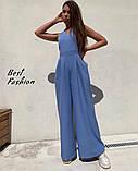 Стильный женский комбинезон с длинными и широкими брюками-трубами,4 цвета, Р-р.42-44,46-48  Код 735Ц, фото 4