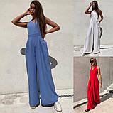 Стильный женский комбинезон с длинными и широкими брюками-трубами,4 цвета, Р-р.42-44,46-48  Код 735Ц, фото 6