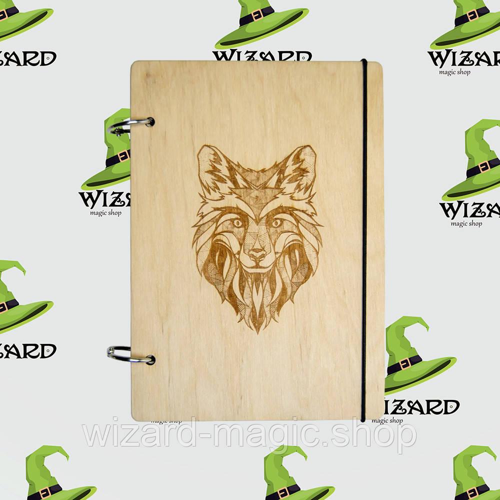 Деревянный блокнот А6 Волк (светлое дерево)