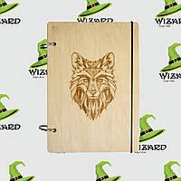Деревянный блокнот А6 Волк (светлое дерево), фото 1