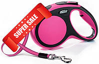 Поводок-рулетка Flexi New Comfort M, 5 м, лента, розовый