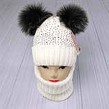 М 94065 Комплект для дівчинки шапка з двома помпонами,стразами і снуд , різні кольори, фото 5