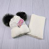 М 94065 Комплект для дівчинки шапка з двома помпонами,стразами і снуд , різні кольори, фото 6