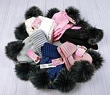 М 94065 Комплект для дівчинки шапка з двома помпонами,стразами і снуд , різні кольори, фото 7