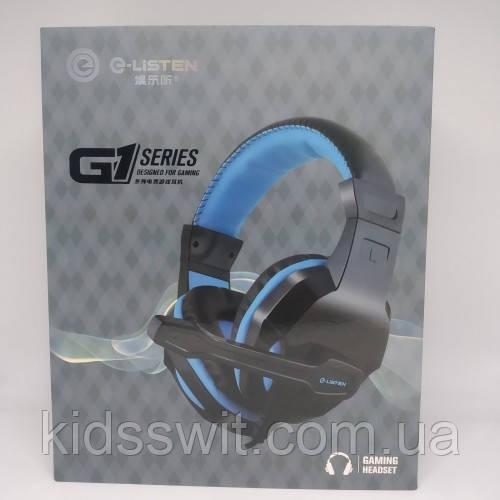 Ігрові дротові навушники G-Listen G1 з мікрофоном Чорні з Синім