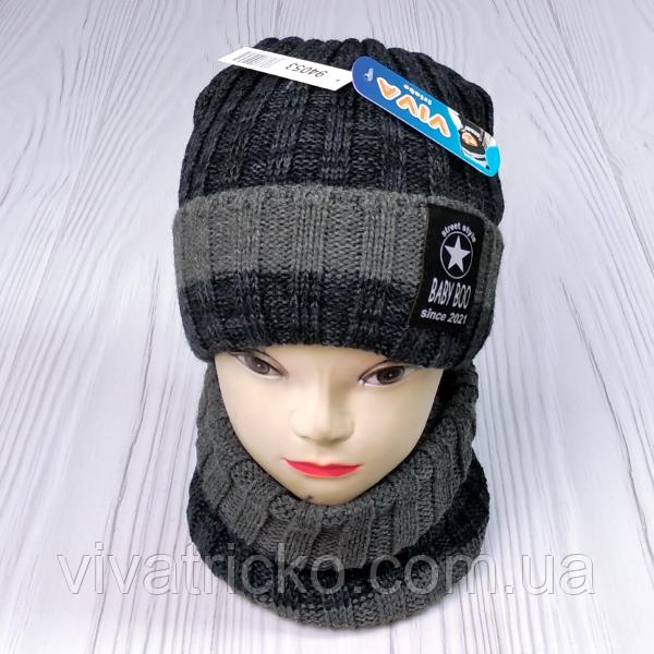 М 94053 Комплект для мальчика, подростка шапка  с кнопкой на флисе  и снуд, разние цвета