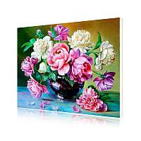 """Картина по номерам Lesko Y-5544 """"Садовые пионы"""" 40-50см набор для творчества живопись"""