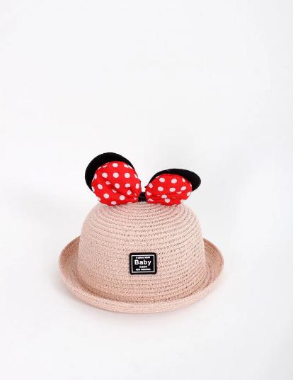 Детская шляпа с ушками Минни Маус пудровая