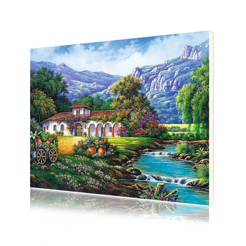 "Картина по номерам Lesko RSB-8175 ""Дом у горного озера"" набор для творчества на холсте 40-50см рисование"