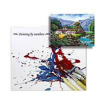"""Картина по номерам Lesko RSB-8175 """"Дом у горного озера"""" набор для творчества на холсте 40-50см рисование, фото 3"""